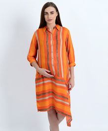Blush 9 Three Fourth Sleeves Striped Maternity Shirt Dress - Orange