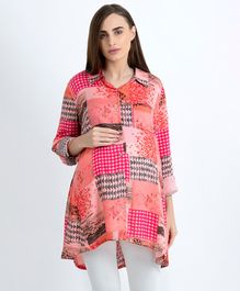 Blush 9 Full Sleeves Printed Maternity Shirt - Pink