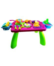 Weeby Stylish Table Kitchen Play Set with Side Basket - 38 Pieces