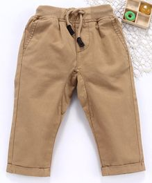 Fox Baby Full Length Solid Ribbed Trousers - Brown