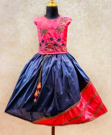 Li&Li BOUTIQUE Dragon Fly & Tulip Embroidered Cap Sleeves Choli & Lace Detailed Lehenga - Pink & Navy Blue