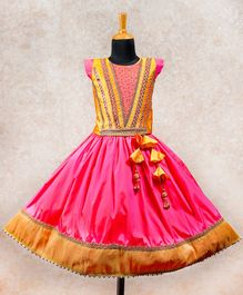 Li&Li BOUTIQUE Lace Detailed Cap Sleeves Choli With Umbrella Cut Lehenga - Yellow & Pink