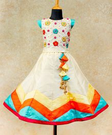 Li&Li BOUTIQUE Flower Embroidered Cap Sleeves Choli With Umbrella Cut Lehenga - Multi Colour