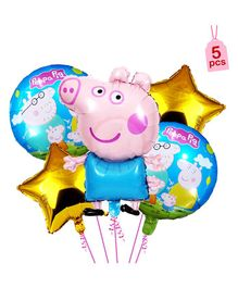 Shopperskart Peppa Pig Theme Foil Balloons Multicolour - Pack of 5