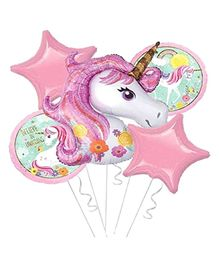 Shopperskart Unicorn Theme Foil Balloons Multicolour - Pack of 5