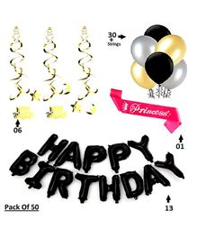Shopperskart Happy Birthday Decoration Combo Pack Of 50 - Black
