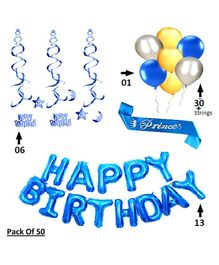 Shopperskart Happy Birthday Decoration Combo Pack Of 50 - Blue
