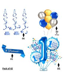 Shopperskart 1st Happy Birthday Decoration Combo Pack Of 42 - Dark Blue