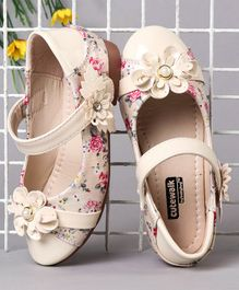 Cute Walk by Babyhug Party Wear Belly Shoes Flower Appliques - Cream