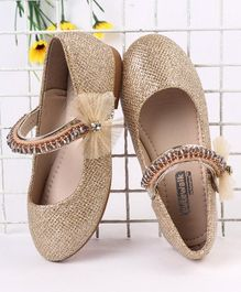 Cute Walk by Babyhug Party Wear Belly Shoes Bow Appliques Beads Detailing - Golden