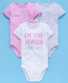 OVS Cheers Print Half Sleeves Pack Of 3 Onesies - White & Pink