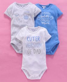 OVS Cuter Version Of Dad Print Half Sleeves Pack Of 3 Onesies - Grey & Blue