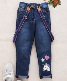 Little Kangaroos Full Length Jeans With Suspenders Unicorn Patch - Light Blue