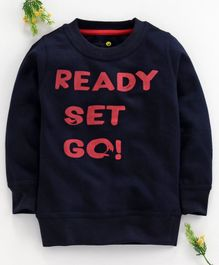 Forever Kids Ready Set Go Print Full Sleeves Sweatshirt - Navy Blue