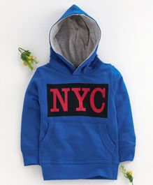 Forever Kids NYC Printed Front Pocket Full Sleeves Hoodie -Blue