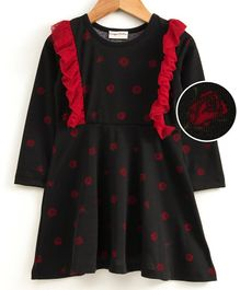 Crayonflakes Roses Printed Frill Full Sleeves Dress - Black