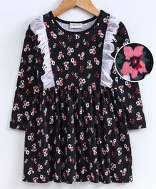 Crayonflakes Flowers Print Frill Full Sleeves Dress - Black