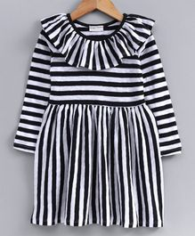 Crayonflakes Striped Full Sleeves Dress - Black
