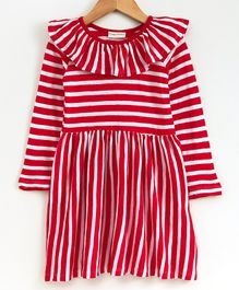Crayonflakes Striped Full Sleeves Dress - Red