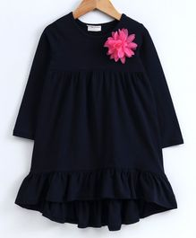Crayonflakes Flower Decorated Full Sleeves Dress - Navy Blue