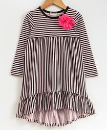 Crayonflakes Striped Flower Decorated Full Sleeves Dress - Black