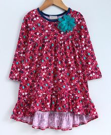 Crayonflakes Flowers Printed Full Sleeves Dress - Red