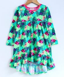 Crayonflakes Tropical Print Full Sleeves Dress - Sea Green