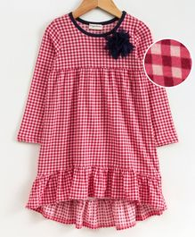 Crayonflakes Checkered Full Sleeves Dress - Red