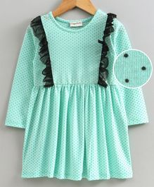 Crayonflakes Polka Dots Printed Full Sleeves Dress - Sea Green