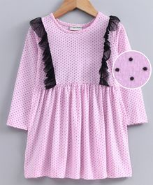Crayonflakes Polka Dots Printed Full Sleeves Dress - Pink