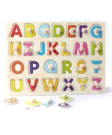 Baybee Educational Wooden Capital Alphabets Letter Tray - Multicolour
