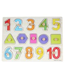 Baybee Geometric and Numeric Wooden Puzzle - Multicolour