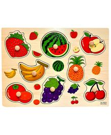 Baybee Fruits Wooden Puzzle With Pegs - Multicolour