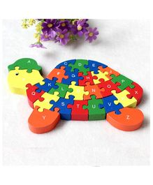 Baybee Turtle Shape Wooden Alphabet Printed Jigsaw Puzzle - Multicolour