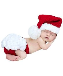 Babymoon Christmas Themed New Born Baby Photo Graphy Shoot Props Costume - Red White