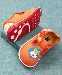 Cute Walk by Babyhug Canvas Shoes Lion Patch - Orange