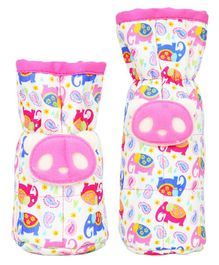 1st Step Bottle Covers Animal Applique White Pink Pack of 2 - Fits Upto 250 ml & 125 ml Each