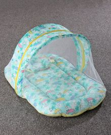 Zoe Baby Mattress With Mosquito Net & Pillow Bunny Print - Green