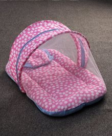 Zoe Baby Mattress With Mosquito Net & Pillow Polka Dots Print - Pink