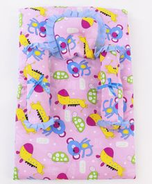 3 Piece Giraffe and monkey Print Baby Gadda Set - Pink