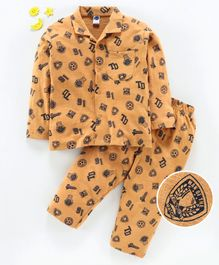 Teddy Full Sleeves Night Suit Soccer Print - Orange