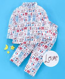 Teddy Full Sleeves Night Suit Multi Print - White