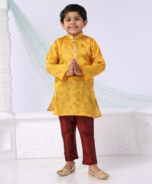 Dapper Dudes Leaves Printed Full Sleeves Kurta & Pajama Set - Yellow