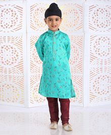 Dapper Dudes Leaves Printed Full Sleeves Kurta & Pajama Set - Sea Green