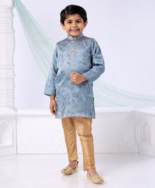 Dapper Dudes Leaves Printed Full Sleeves Kurta & Pajama Set - Grey