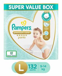 Pampers Premium Care Pants, Large size baby diapers (LG), 132 Count, Softest ever Pampers pants