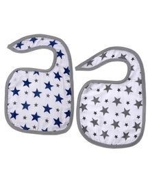Haus & Kinder Cotton Muslin Triple Layered Bibs Star Print Navy & Grey- Pack Of 2