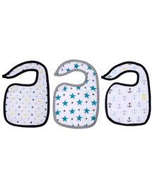 Haus & Kinder Cotton Muslin Triple Layered Bibs Anchor, Dots & Turquoise - Pack Of 3