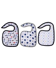Haus & Kinder Cotton Muslin Triple Layered Bibs Horse, Dots & Navy - Pack Of 3