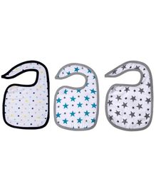 Haus & Kinder Cotton Muslin Triple Layered Bibs Grey, Dots & Turquoise - Pack Of 3